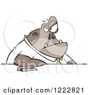 Clipart Of A Boss Ape Businessman At A Desk Royalty Free Vector Illustration