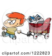 Clipart Of A Happy Little Boy Pulling A Wagon Full Of Toys Royalty Free Vector Illustration