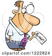 Clipart Of A Caucasian Businessman Holding A Bonus Check Royalty Free Vector Illustration