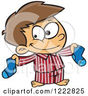 Clipart Of A Happy Little Boy Holding Up Christmas Socks Royalty Free Vector Illustration