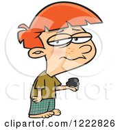 Clipart Of A Depressed Boy Holding Coal On Christmas Royalty Free Vector Illustration