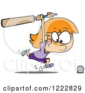 Clipart Of A Sporty Cricket Girl Chasing A Ball With A Bat Royalty Free Vector Illustration