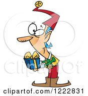 Clipart Of A Christmas Elf Holding Out A Gift Royalty Free Vector Illustration