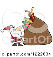Clipart Of Santa Staring At A Giant Sack Full Of Gifts Royalty Free Vector Illustration
