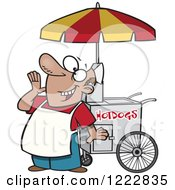 Clipart Of A Happy Shouting Hot Dog Vendor Man Royalty Free Vector Illustration by toonaday