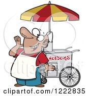Happy Shouting Hot Dog Vendor Man