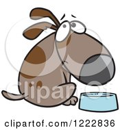 Clipart Of A Hungry Brown Dog Looking Over His Shoulder By A Dish Royalty Free Vector Illustration