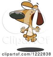 Clipart Of A Meditating Brown Dog Floating Off Of The Floor Royalty Free Vector Illustration