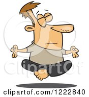 Clipart Of A Relaxed Caucasian Man Floating While Meditating Royalty Free Vector Illustration