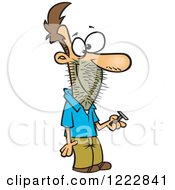 Clipart Of A Caucasian Man Holding A Razor With Stubble On His Face Royalty Free Vector Illustration