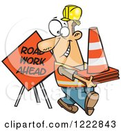 Clipart Of A Happy Caucasian Construction Worker With Road Cones And A Sign Royalty Free Vector Illustration by toonaday