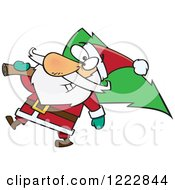 Clipart Of Santa Carrying A Christmas Tree Royalty Free Vector Illustration