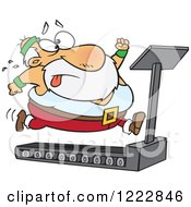 Clipart Of Santa Trying To Run And Lose Weight On A Treadmill Royalty Free Vector Illustration by Ron Leishman