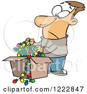 Clipart Of A Caucasian Man Holding A Tangled Mess Of Christmas Lights Royalty Free Vector Illustration