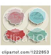 Clipart Of Holiday Greeting Labels On Tan Royalty Free Vector Illustration