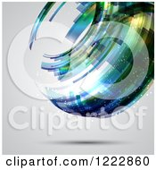 Clipart Of A Floating Abstract Sphere Over Gray Royalty Free Vector Illustration by KJ Pargeter