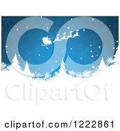Clipart Of Santas Sleigh Flying Over Evergreen Trees And Snowflakes On Blue Royalty Free Vector Illustration