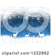 Clipart Of Silhouetted Deer With Snowflakes Bokeh And Waves Royalty Free Vector Illustration