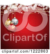 Clipart Of A Christmas Background Of Baubles And Snowflakes Over Red Stars And Snowflakes Royalty Free Vector Illustration
