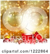 Clipart Of A Christmas Background Of Baubles And A Magic Gift Over Gold Flares Stars And Snowflakes Royalty Free Vector Illustration by KJ Pargeter