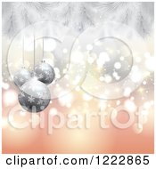 Christmas Background Of Silver Baubles And Fir Branches Over Bokeh