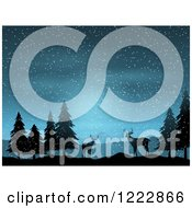 Clipart Of Silhouetted Deer And Trees In The Snow At Night Royalty Free Vector Illustration by KJ Pargeter