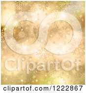 Clipart Of A Golden Stars Snowflakes And Flares Christmas Background Royalty Free Vector Illustration