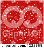 Clipart Of A White And Red Christmas Star And Snowflake Background Royalty Free Vector Illustration by KJ Pargeter