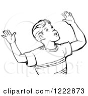 Clipart Of A Retro Boy Throwing Up His Arms In Black And White Royalty Free Vector Illustration