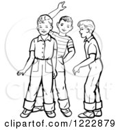 Clipart Of Retro Boys Talking And Waving In Black And White Royalty Free Vector Illustration