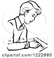 Clipart Of A Retro Boy Writing In Black And White Royalty Free Vector Illustration by Picsburg
