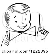 Clipart Of A Happy Retro Boy Holding A Pencil In Black And White Royalty Free Vector Illustration by Picsburg