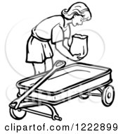 Clipart Of A Retro Girl Putting A Bag In A Wagon In Black And White Royalty Free Vector Illustration