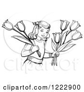 Clipart Of A Retro Girl Holding Tulip Flowers In Black And White Royalty Free Vector Illustration