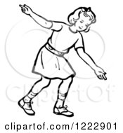 Clipart Of A Retro Girl After Releasing A Bowling Ball In Black And White Royalty Free Vector Illustration