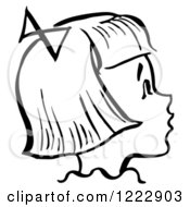 Clipart Of A Happy Retro Girl In Profile In Black And White Royalty Free Vector Illustration