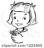 Clipart Of A Happy Retro Girl Holding Toothpicks In Black And White Royalty Free Vector Illustration