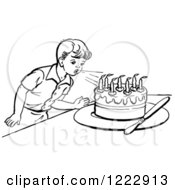 Clipart Of A Retro Boy Blowing Out Birthday Cake Candles In Black And White Royalty Free Vector Illustration