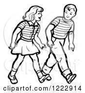 Clipart Of A Retro Boy And Girl Walking In Black And White Royalty Free Vector Illustration