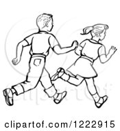 Clipart Of A Retro Boy And Girl Running In Black And White Royalty Free Vector Illustration