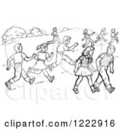 Clipart Of Retro Boys And Girls Running And Walking In A Park In Black And White Royalty Free Vector Illustration