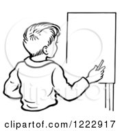 Clipart Of A Retro Boy By An Easel In Black And White Royalty Free Vector Illustration by Picsburg