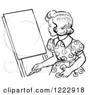 Clipart Of A Retro Girl Looking At An Easel In Black And White Royalty Free Vector Illustration