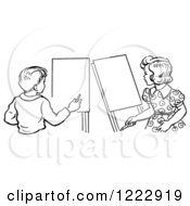 Clipart Of A Retro Boy And Girl With Art Easels In Black And White Royalty Free Vector Illustration