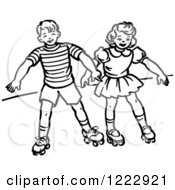 Clipart Of A Retro Boy And Girl Roller Skating In Black And White Royalty Free Vector Illustration