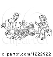 Retro Boy And Girl Playing With Dolls In Black And White