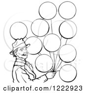 Clipart Of A Circus Man With Balloons In Black And White Royalty Free Vector Illustration by Picsburg