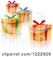 Clipart Of Scattered Gift Boxes With Ribbons Bows And Reflections Royalty Free Vector Illustration by cidepix