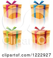 Four Gift Boxes With Ribbons Bows And Reflections