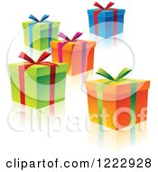 Colorful Gift Boxes With Ribbons Bows And Reflections